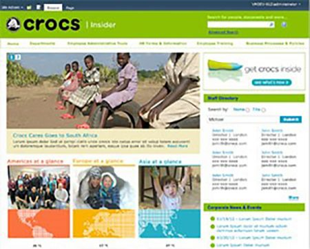 photo of crocs webpage - Intranet Design Ideas
