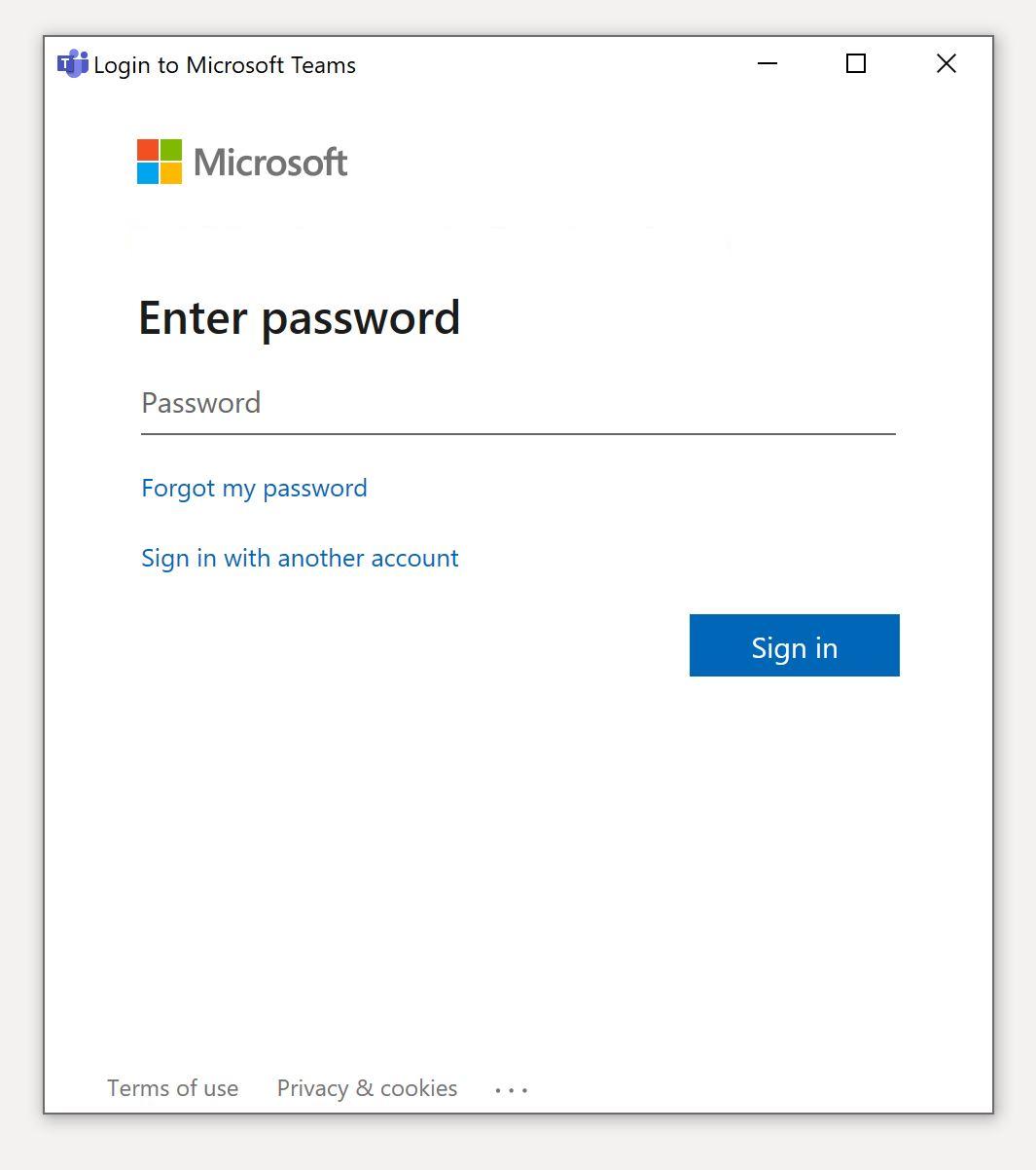 Logging in password