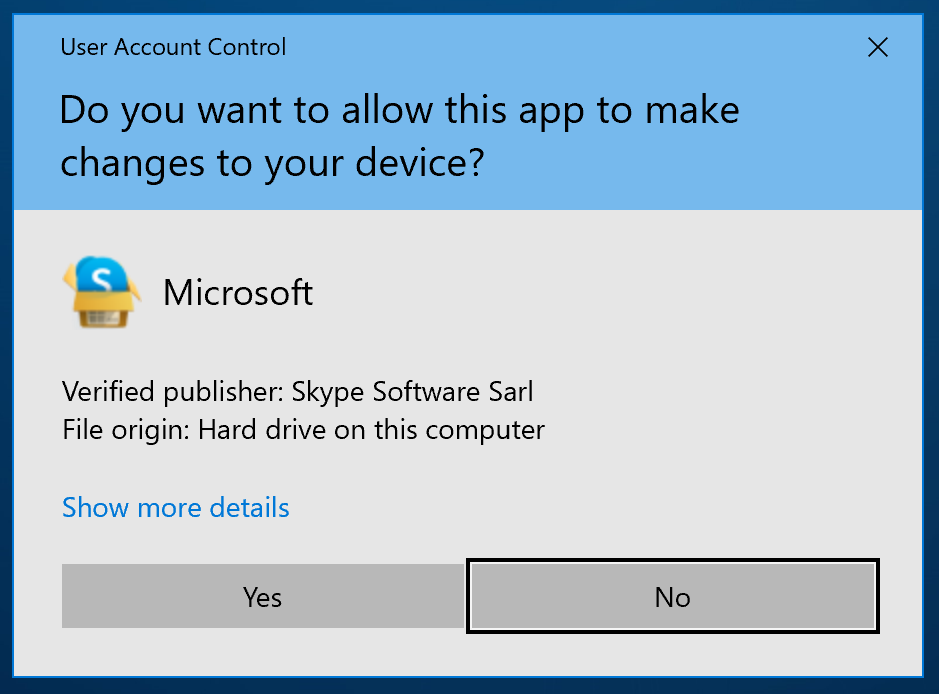 Allow install of skype