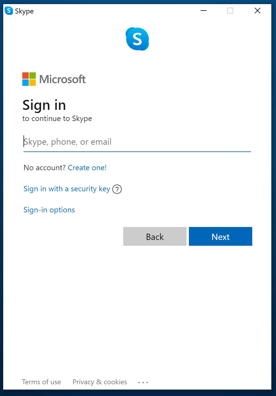 Log into Skype