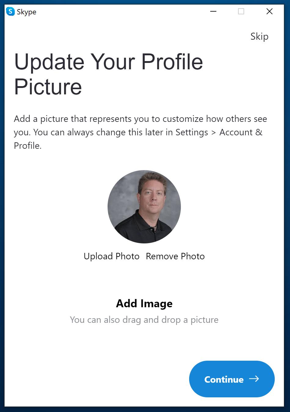 Skype - add a photo