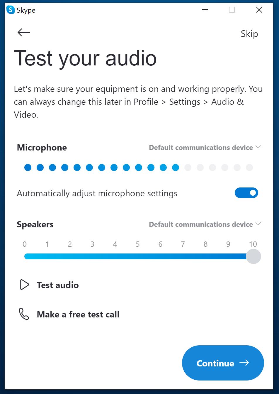 Skype audio