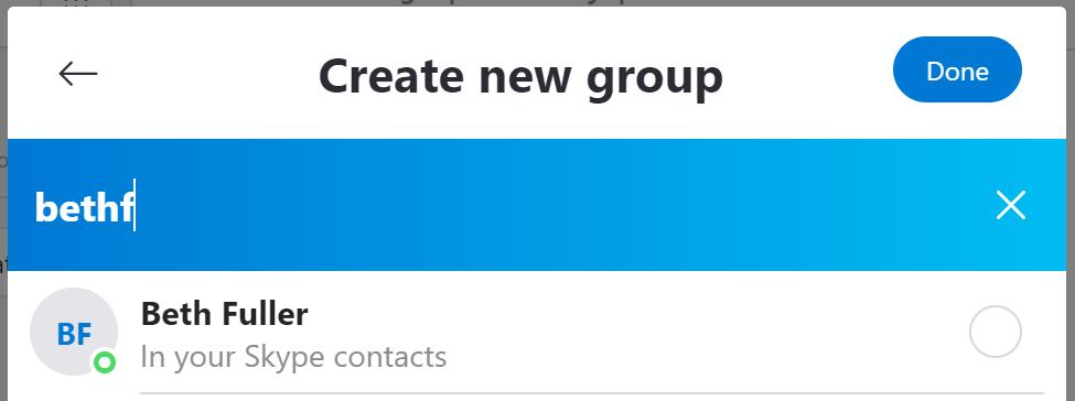 Create new group - Skype