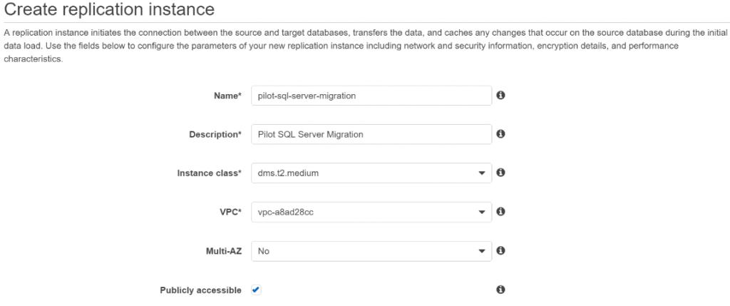 Create AWS Data migration Replication Instance