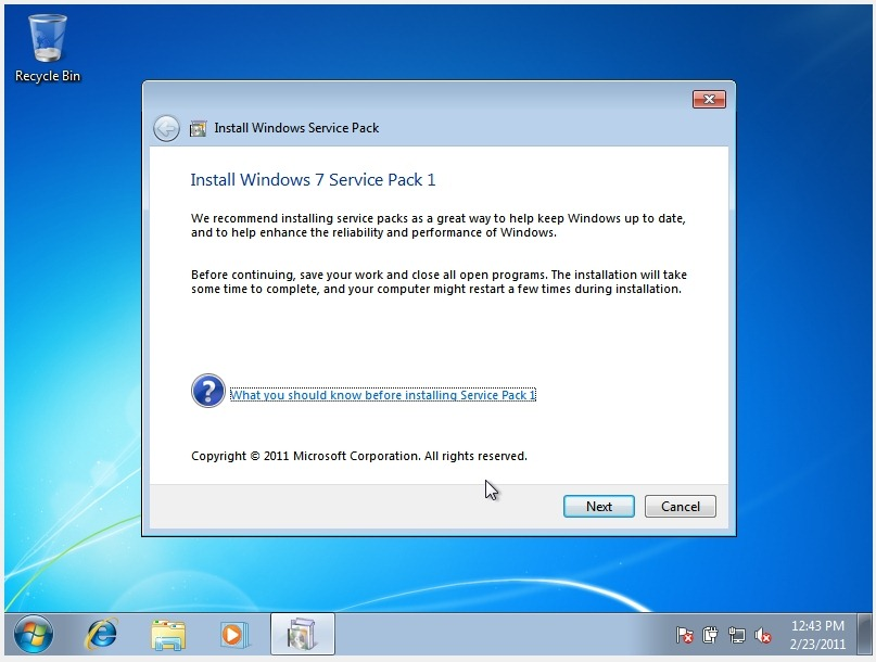install microsoft windows 7 service pack 2