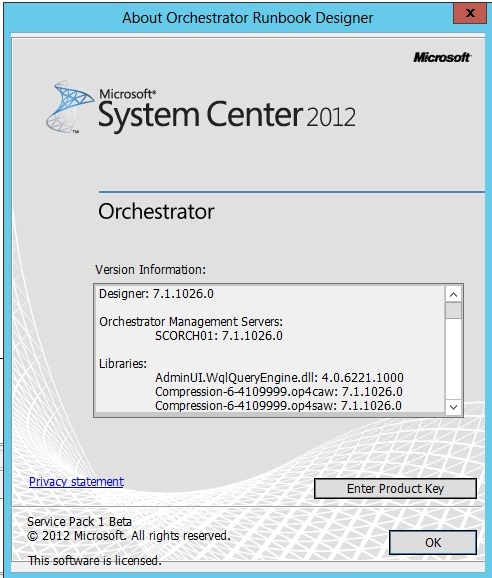 Microsoft System Center 2012 Orchestrator SP1 error