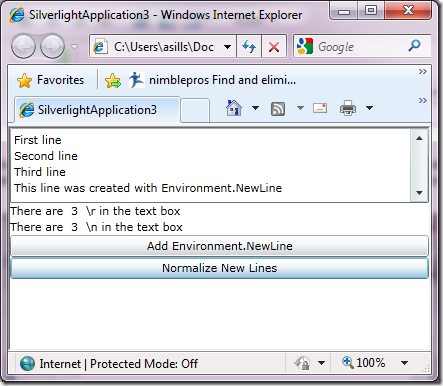 Tip: Silverlight TextBox Uses r For New Lines, not Environment