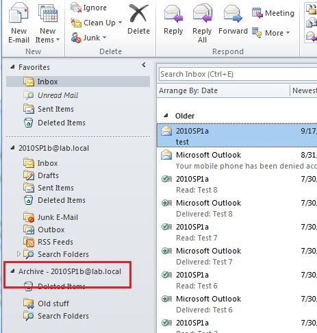 BUG: Exchange 2010 Personal Archive Display Name in Outlook 2010 – Catapult  Systems